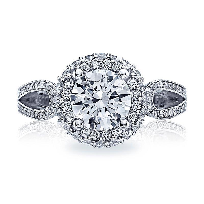 Tacori HT2518RD65 Platinum Loop Shank Engagement Blooming Beauties Ring Top View