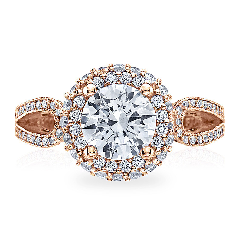 Tacori HT2518RD7-PK Rose Gold Loop Shank Engagement Blooming Beauties Ring Top View