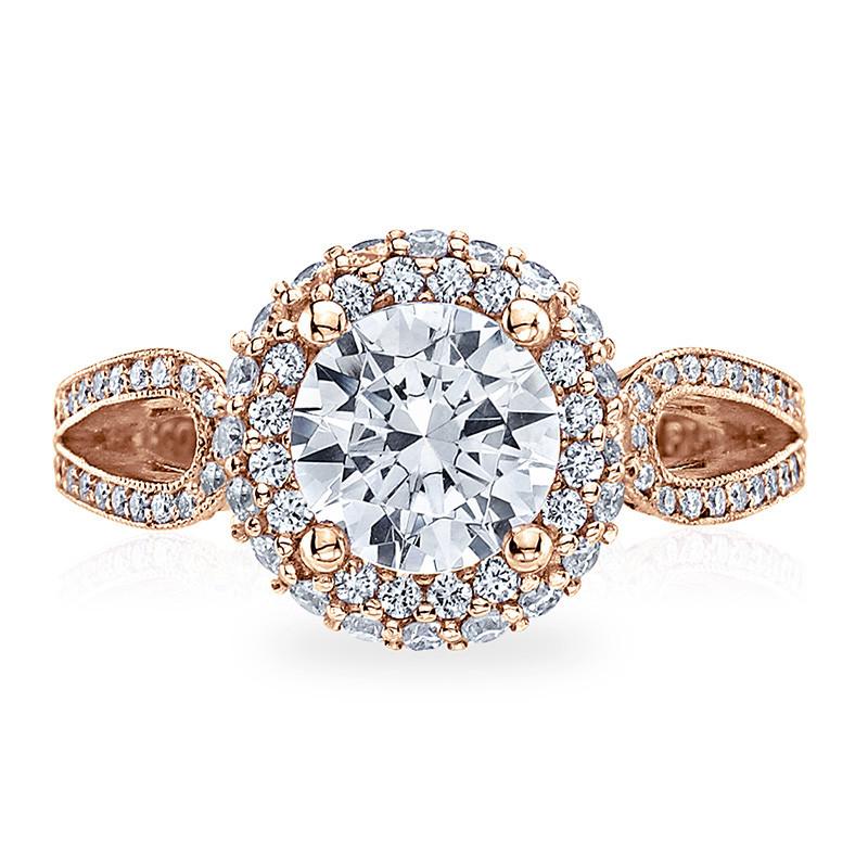 Tacori HT2518RD65-PK Rose Gold Loop Shank Engagement Blooming Beauties Ring Top View