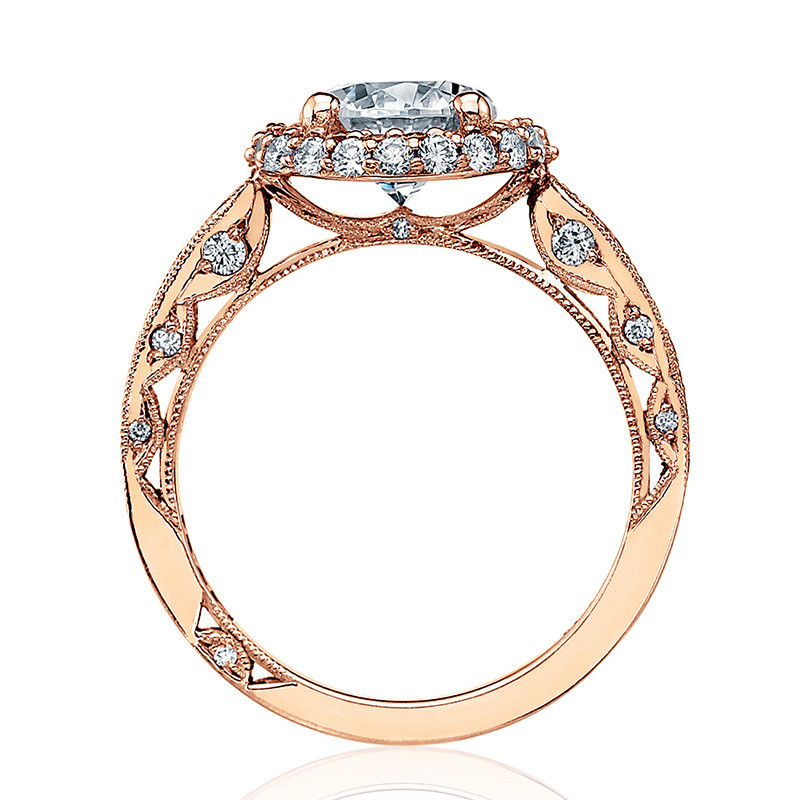 Tacori HT2518RD5-PK Rose Gold Loop Shank Engagement Blooming Beauties Ring Edge View