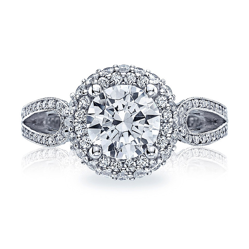 Tacori HT2518RD6-W White Gold Loop Shank Engagement Blooming Beauties Ring Top View