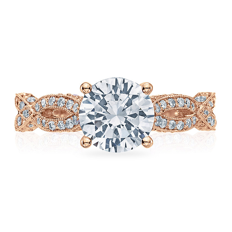 Tacori HT2528RD6-PK Diamond Half Way Rose Gold Engagement Ribbon Setting Top View