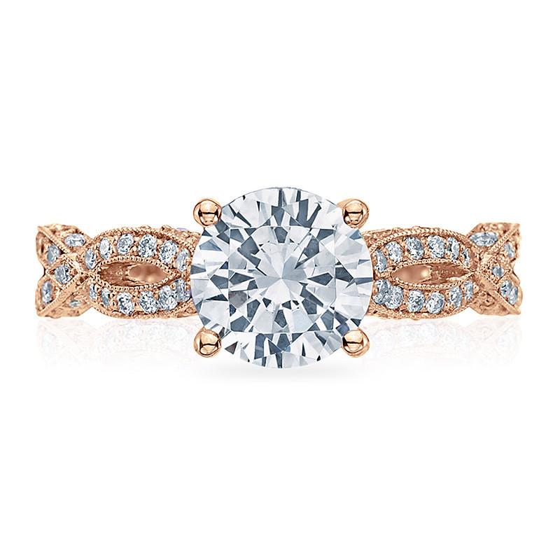 Tacori HT2528RD65-PK Diamond Half Way Rose Gold Engagement Ribbon Setting Top View