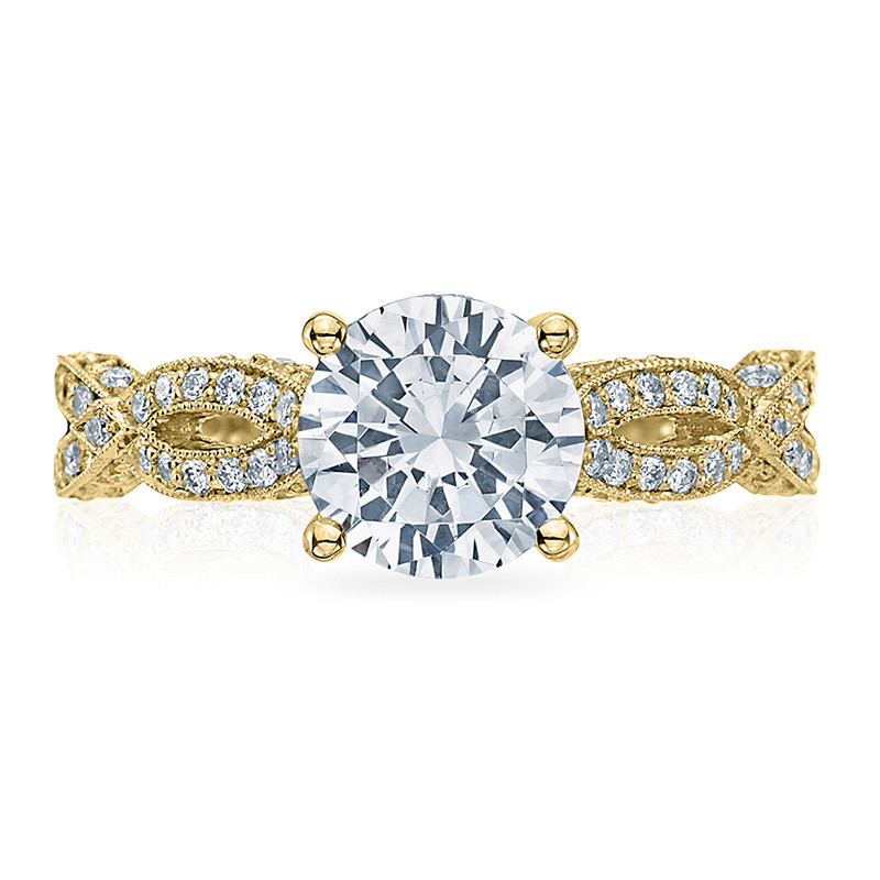 Tacori HT2528RD8-Y Diamond Half Way Yellow Gold Engagement Ribbon Setting Top View
