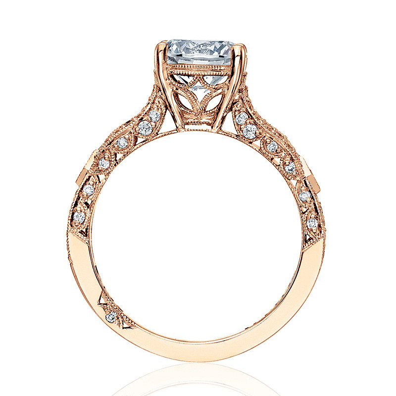 Tacori HT2528RD6-PK Diamond Half Way Rose Gold Engagement Ribbon Setting Edge View