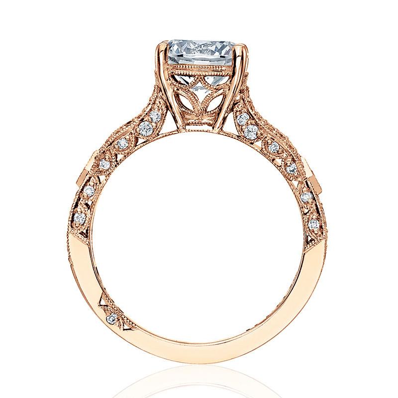 Tacori HT2528RD65-PK Diamond Half Way Rose Gold Engagement Ribbon Setting Edge View
