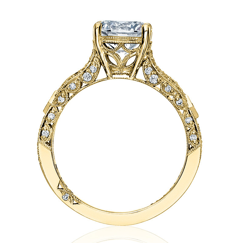 Tacori HT2528RD8-Y Diamond Half Way Yellow Gold Engagement Ribbon Setting Edge View