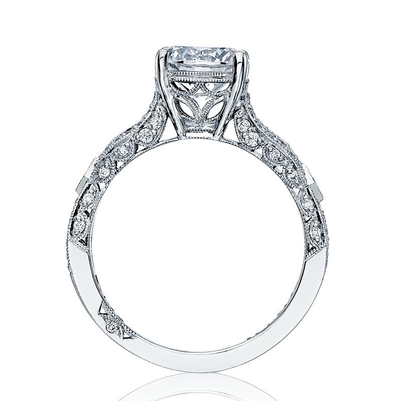 Tacori HT2528RD6-W Diamond Half Way White Gold Engagement Ribbon Setting Edge View