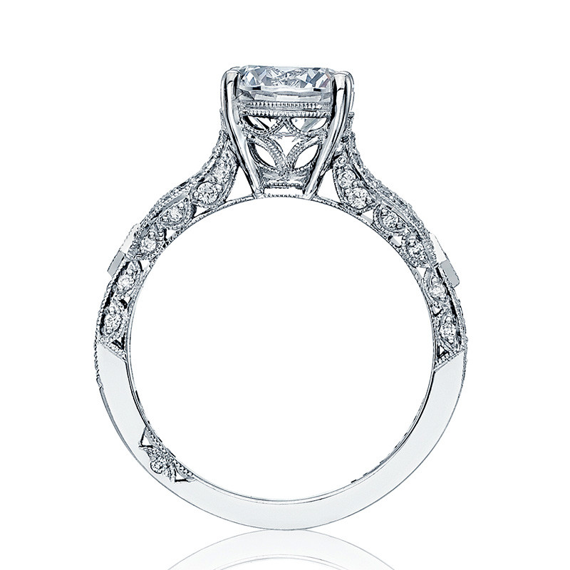 Tacori HT2528RD65 Diamond Half Way Platinum Engagement Ribbon Setting Edge View
