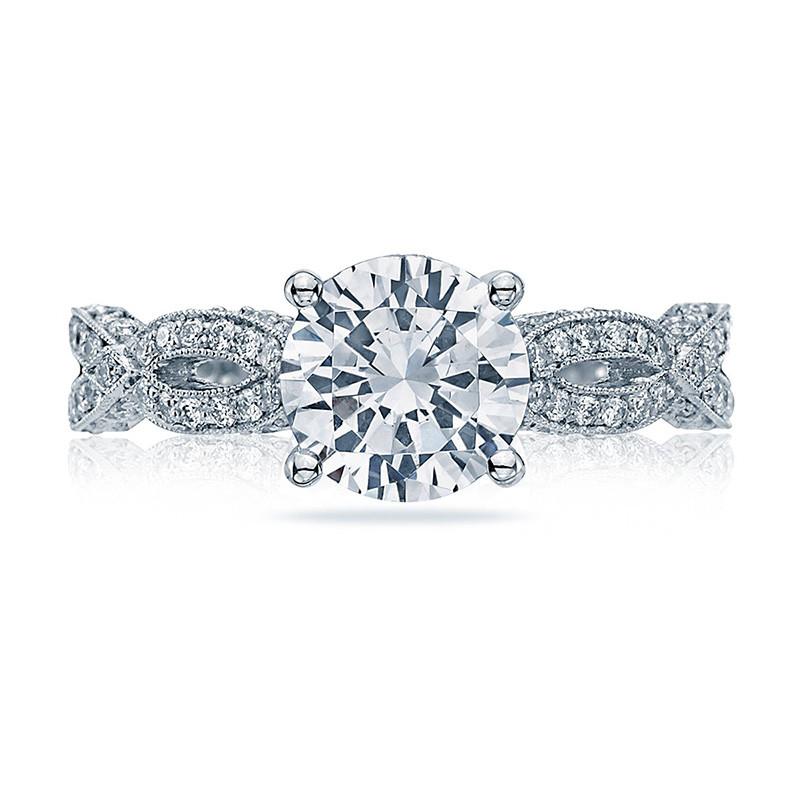 Tacori HT2528RD65 Diamond Half Way Platinum Engagement Ribbon Setting Top View