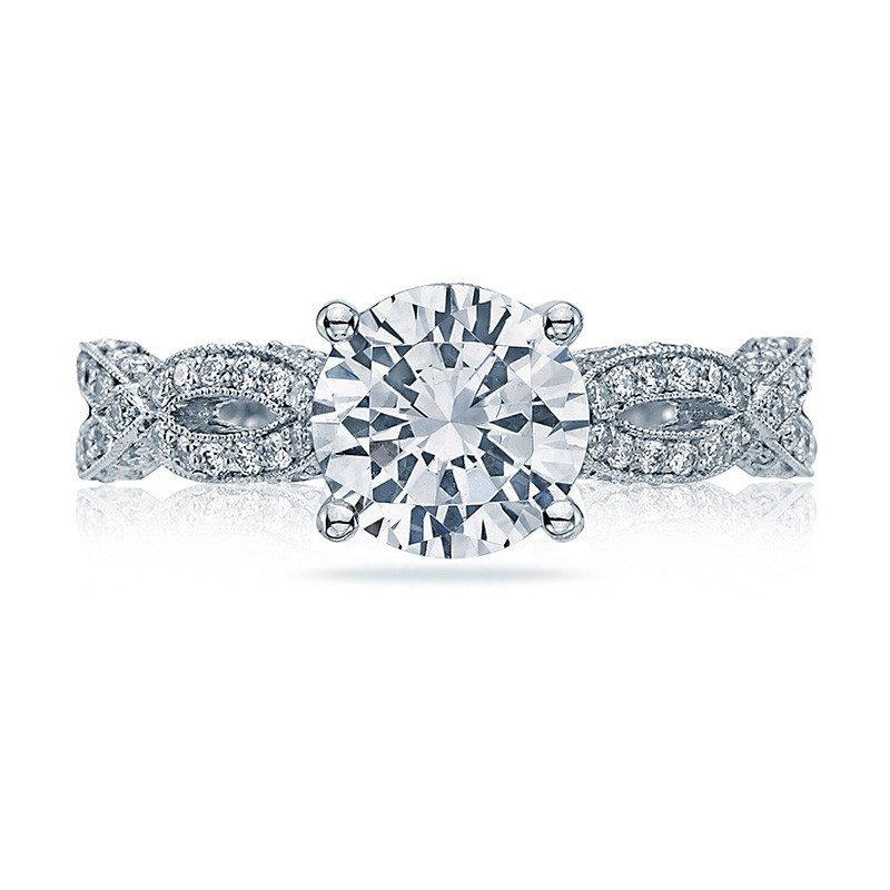 Tacori HT2528RD75 Diamond Half Way Platinum Engagement Ribbon Setting Top View
