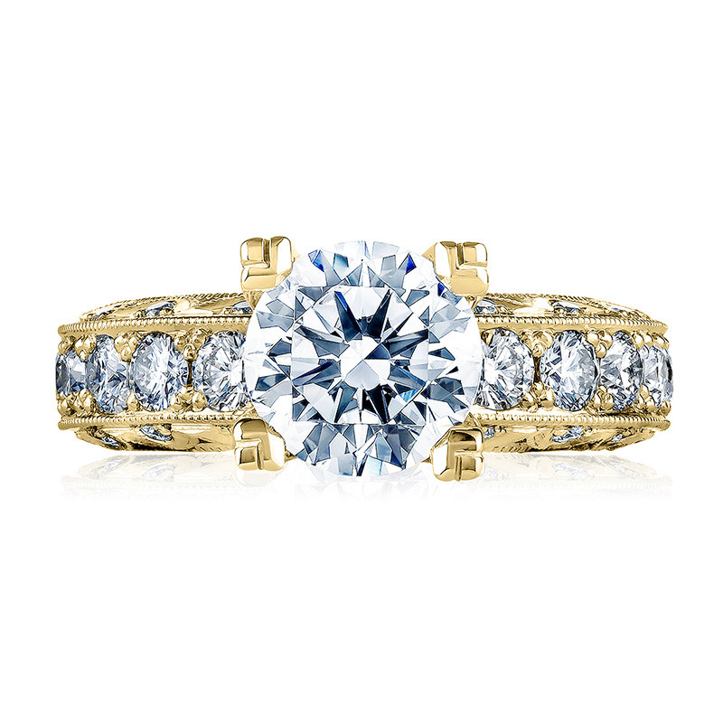 Tacori HT2530A-Y Yellow Gold Diamond Eternity Engagement Classic Crescent Setting Top View