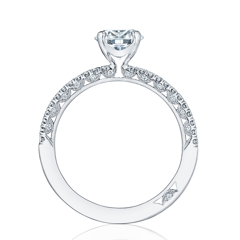 Tacori HT2545RD45 White Gold Engagement Petite Crescent Setting Edge View
