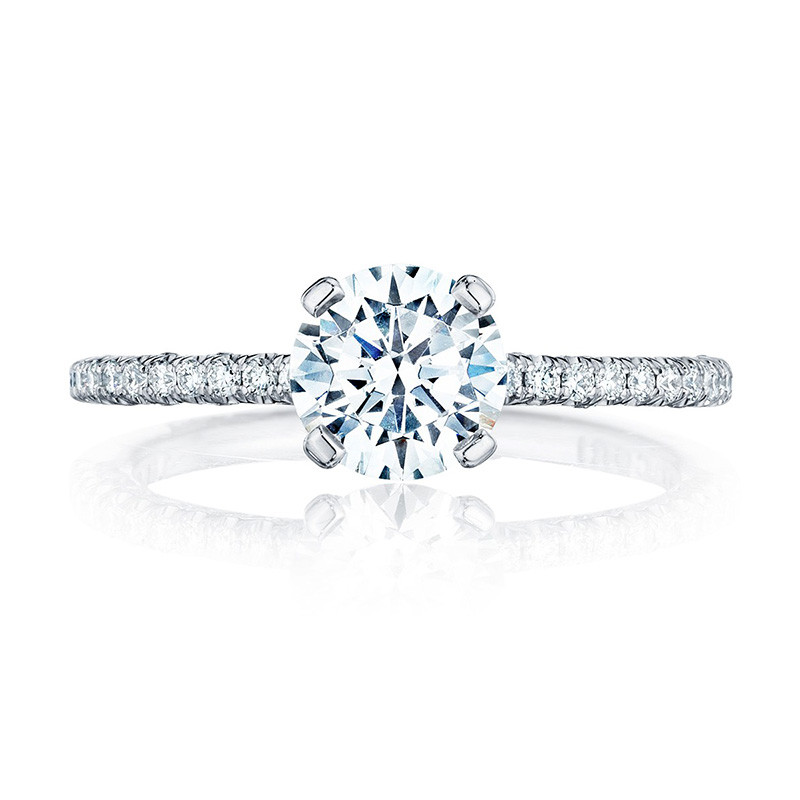 Tacori HT2545RD45 Platinum Engagement Petite Crescent Setting Top View