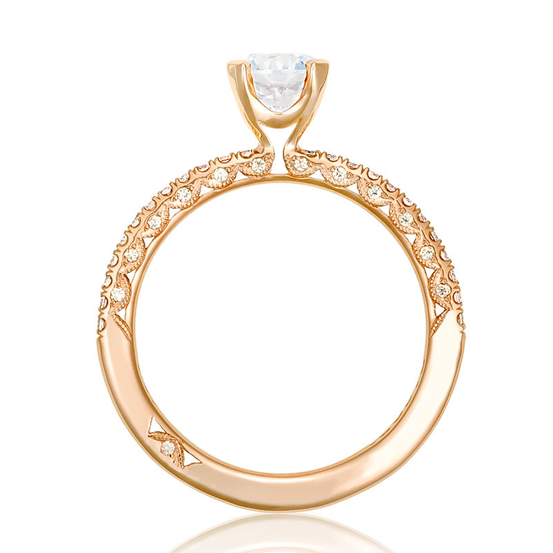 Tacori HT2545RD55 Rose Gold Engagement Petite Crescent Setting Edge View