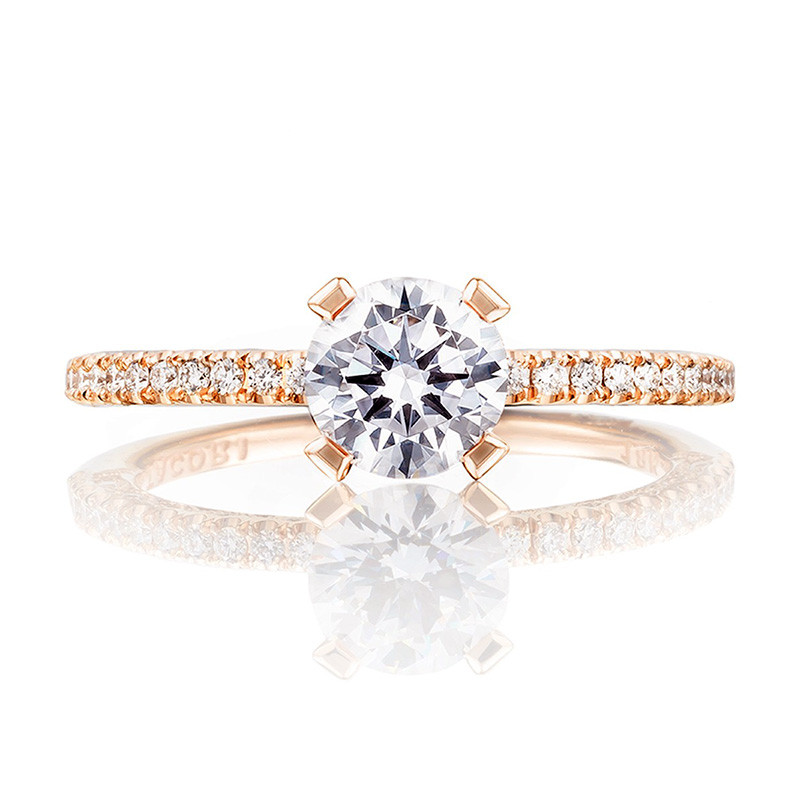 Tacori HT2545RD55 Rose Gold Engagement Petite Crescent Setting Top View