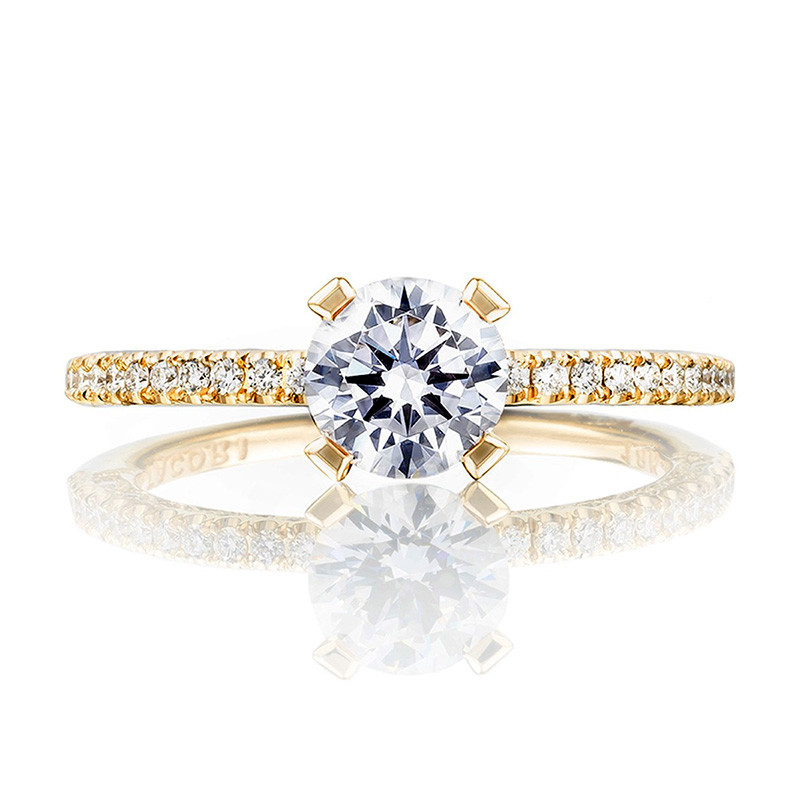 Tacori HT2545RD65 Yellow Gold Engagement Petite Crescent Setting Top View