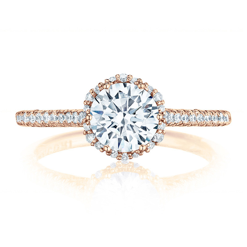 Tacori HT254715RD6 Rose Gold Bloom Engagement Petite Crescent Setting Top View