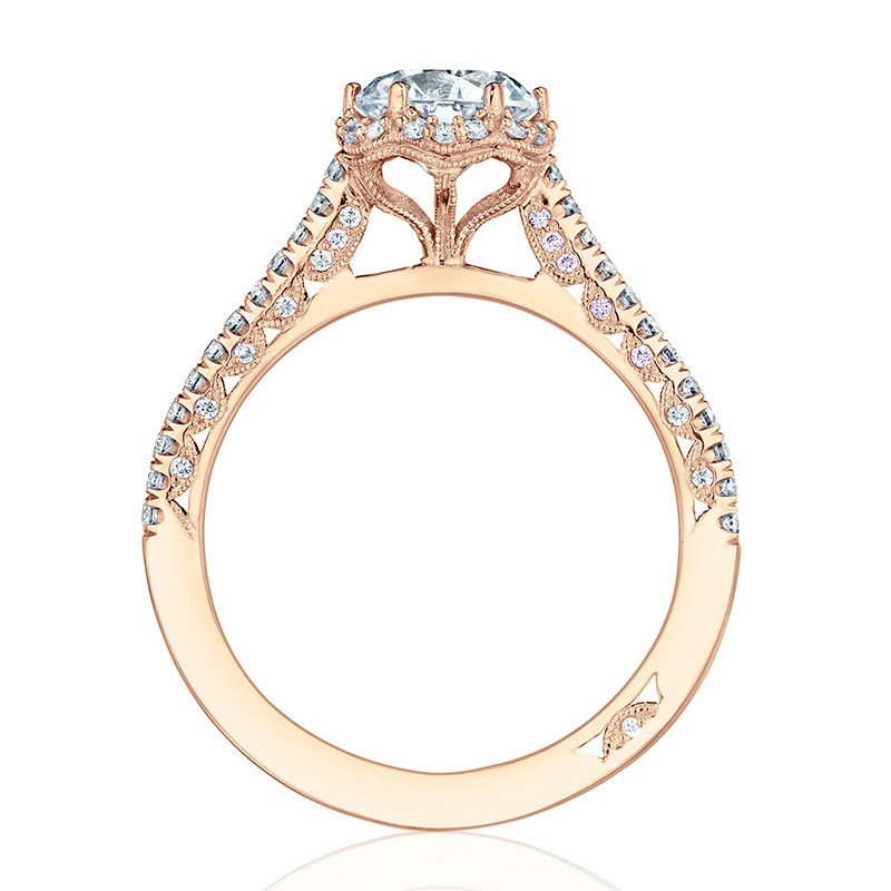 Tacori HT254715RD6 Rose Gold Bloom Engagement Petite Crescent Setting Edge View