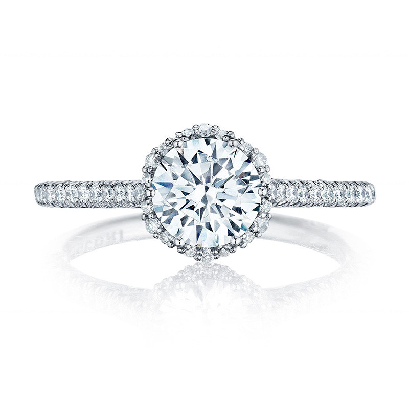 Tacori HT254715RD7 White Gold Bloom Engagement Petite Crescent Setting Top View