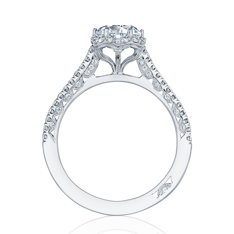 Tacori HT254715RD45 White Gold Bloom Engagement Petite Crescent Setting Edge View