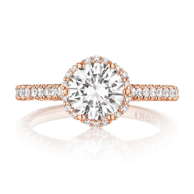 Tacori HT2547RD65 Rose Gold Petite Crescent Bloom Engagement Setting