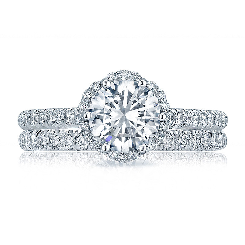 Tacori HT2547RD7 Bloom Platinum Engagement Petite Crescent Setting with Band