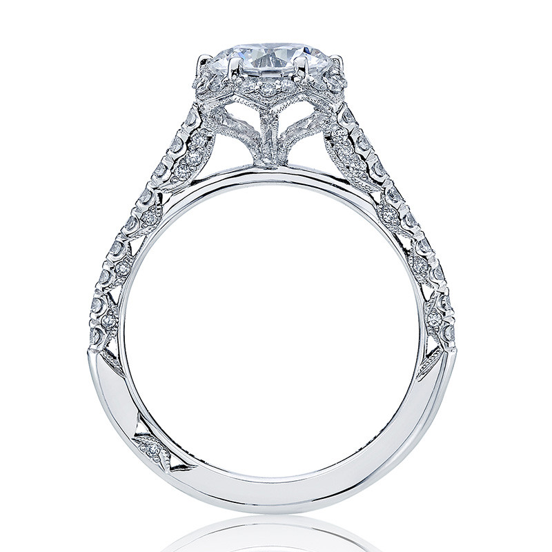Tacori HT2547RD7 Bloom White Gold Engagement Petite Crescent Setting Edge View