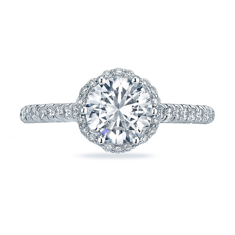 Tacori HT2547RD65 Bloom Platinum Engagement Petite Crescent Setting Top View