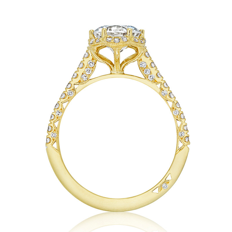 Tacori HT2547RD75 Bloom Yellow Gold Engagement Petite Crescent Setting Edge View
