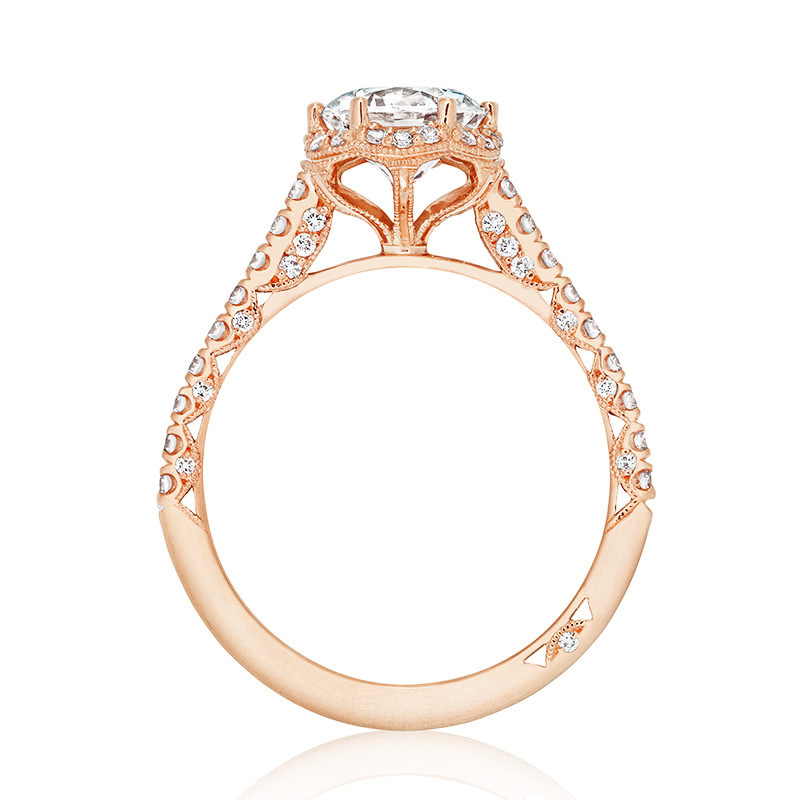 Tacori HT2547RD65 Rose Gold Petite Crescent Bloom Engagement Setting Side View