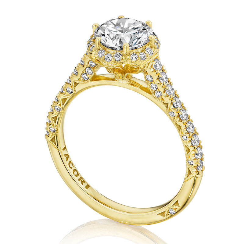 Tacori HT2547RD7 Bloom Yellow Gold Engagement Petite Crescent Setting Angle View