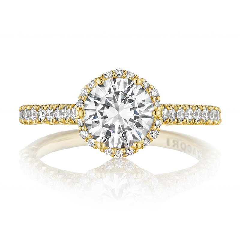 Tacori HT2547RD7 Bloom Yellow Gold Engagement Petite Crescent Setting Top View