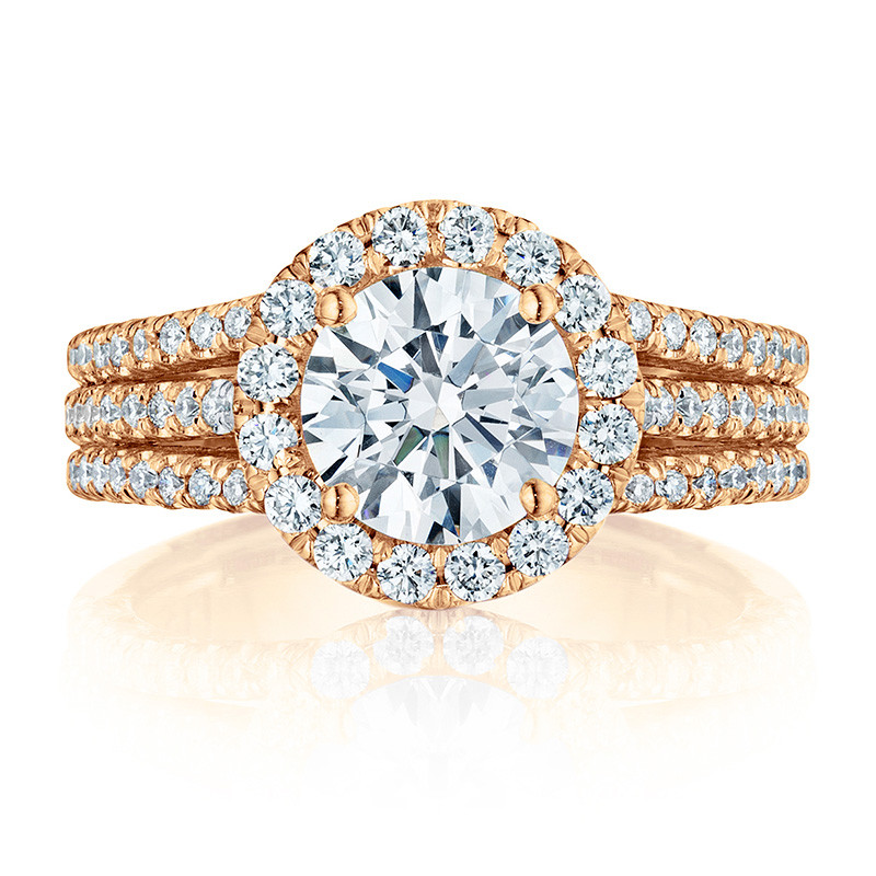 Tacori HT2551RD7 Triple Row Rose Gold Engagement Petite Crescent Setting Top View