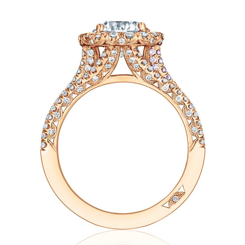 Tacori HT2551RD7 Triple Row Rose Gold Engagement Petite Crescent Setting Edge View