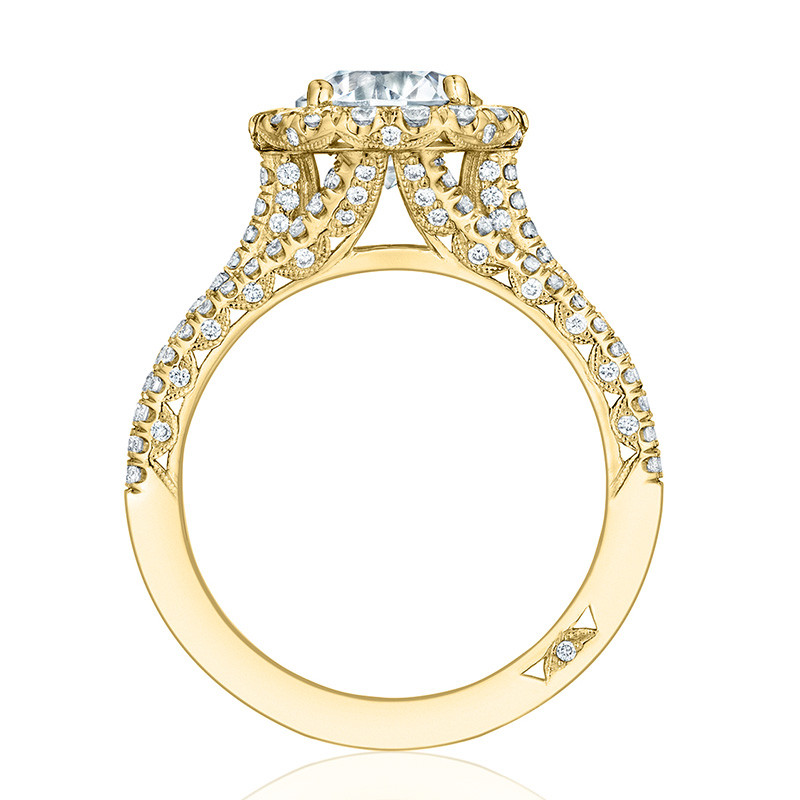 Tacori HT2551RD75 Triple Row Yellow Gold Engagement Petite Crescent Setting Edge View