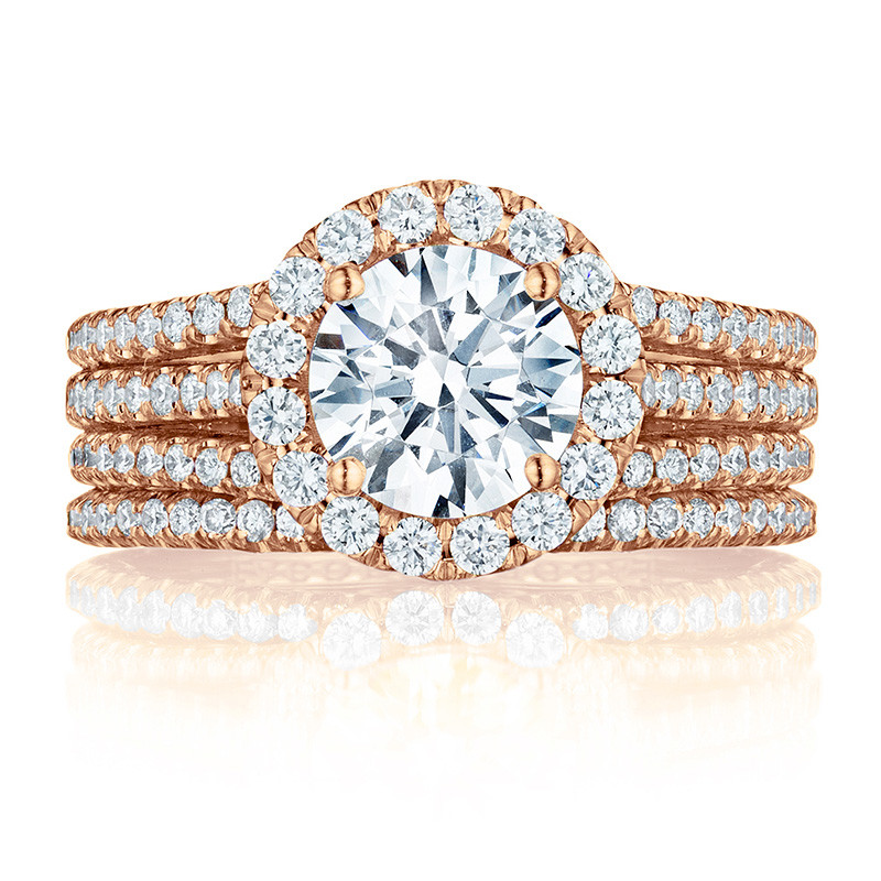 Tacori HT2551RD7 Triple Row Rose Gold Engagement Petite Crescent Setting with Band