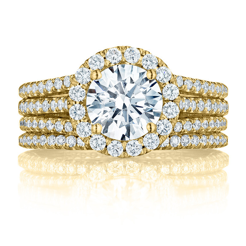 Tacori HT2551RD75 Triple Row Yellow Gold Engagement Petite Crescent Setting with Band