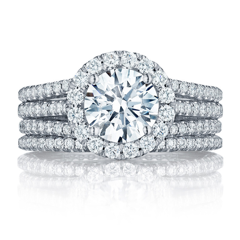 Tacori HT2551RD75 Triple Row Platinum Engagement Petite Crescent Setting with Band