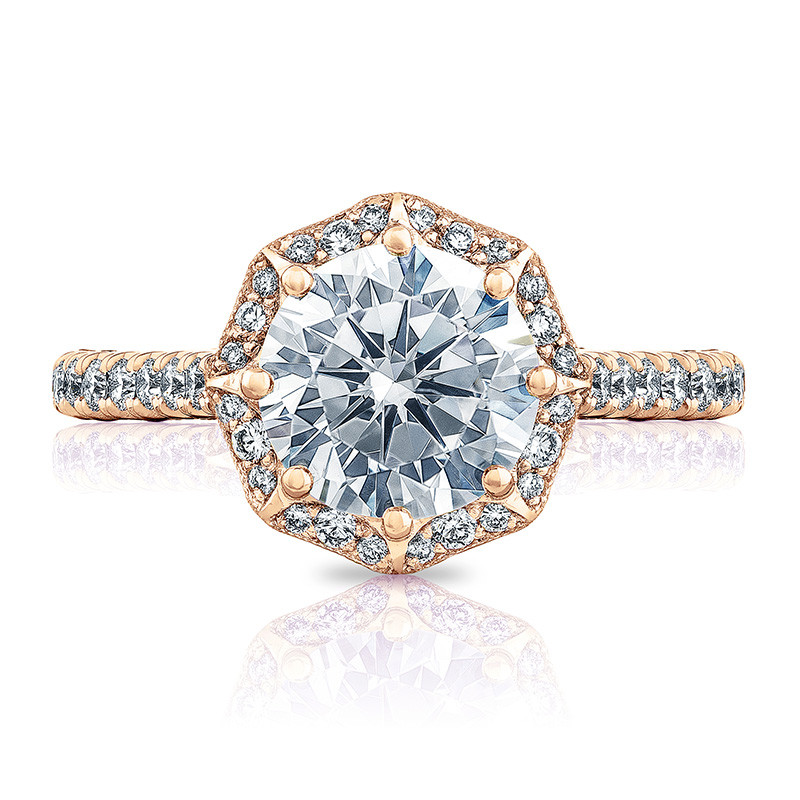Tacori HT2555RD65 Bloom Rose Gold Engagement Petite Crescent Setting Top View