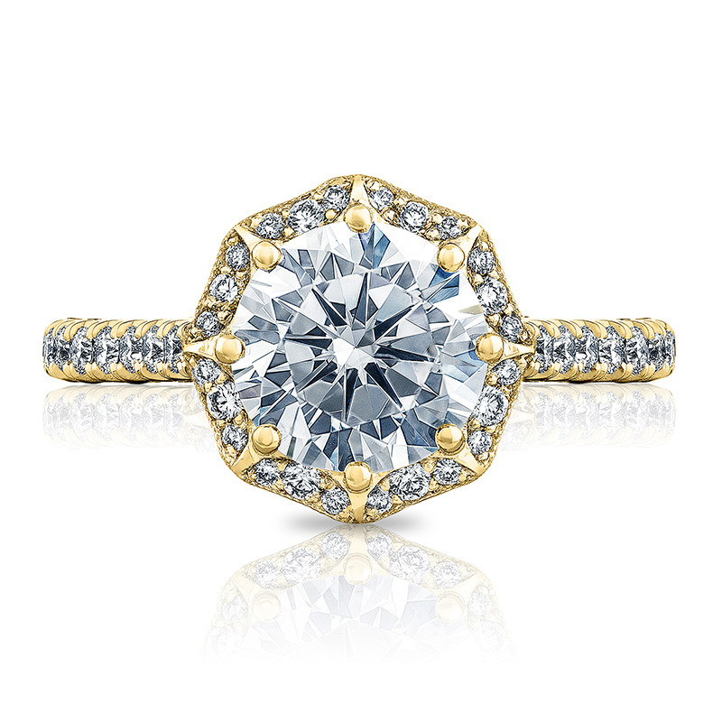 Tacori HT2555RD7 Bloom Yellow Gold Engagement Petite Crescent Setting Top View
