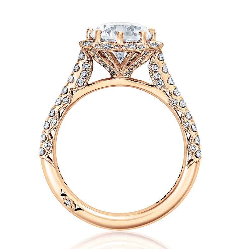 Tacori HT2555RD7 Bloom Rose Gold Engagement Petite Crescent Setting Edge View