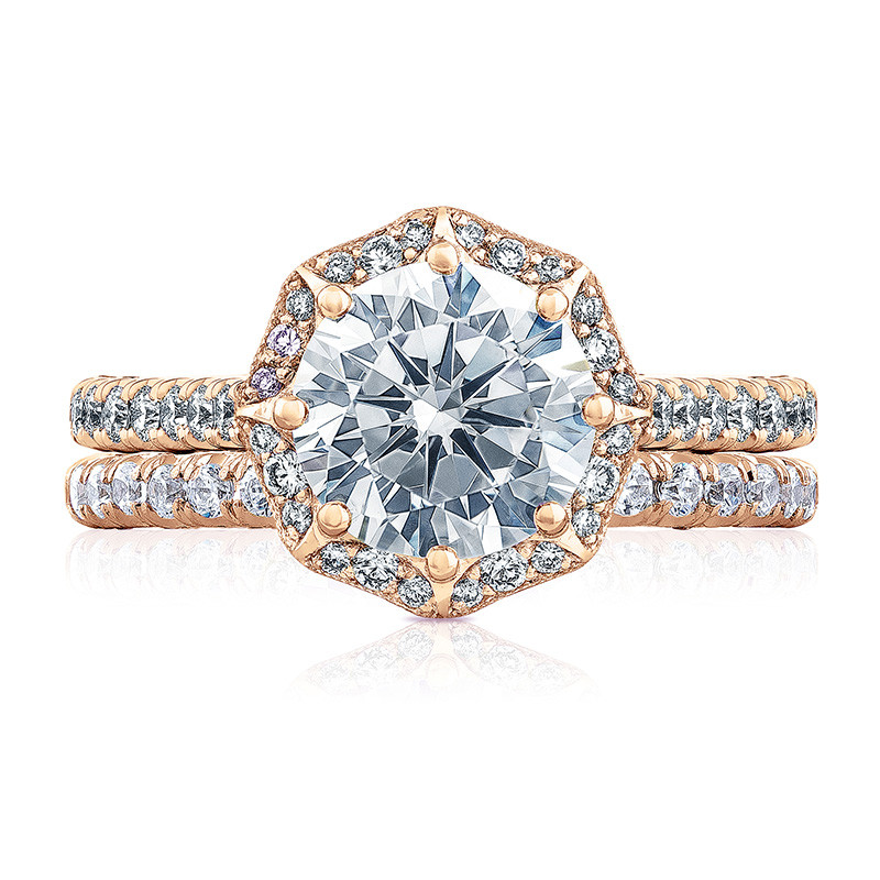 Tacori HT2555RD65 Bloom Rose Gold Engagement Petite Crescent Setting with Band