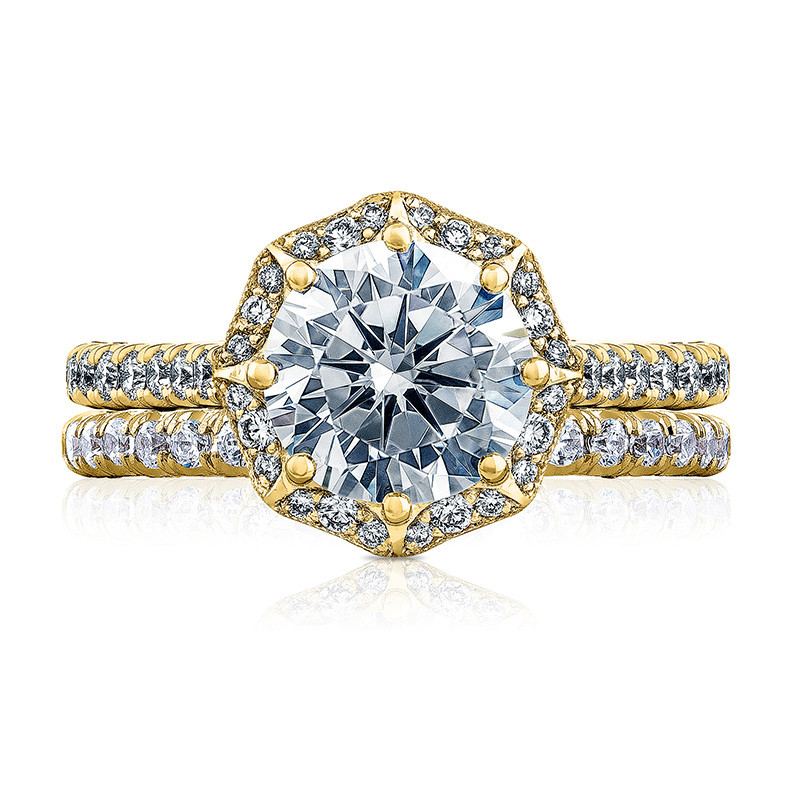 Tacori HT2555RD8 Bloom Yellow Gold Engagement Petite Crescent Setting with Band