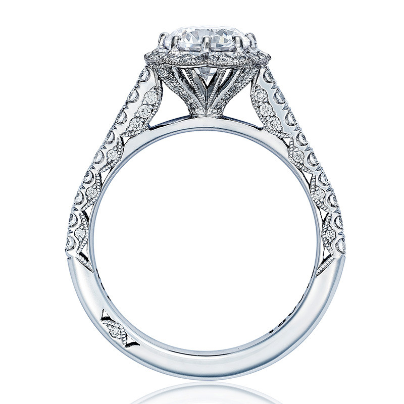 Tacori HT2555RD6 Bloom White Gold Engagement Petite Crescent Setting Edge View