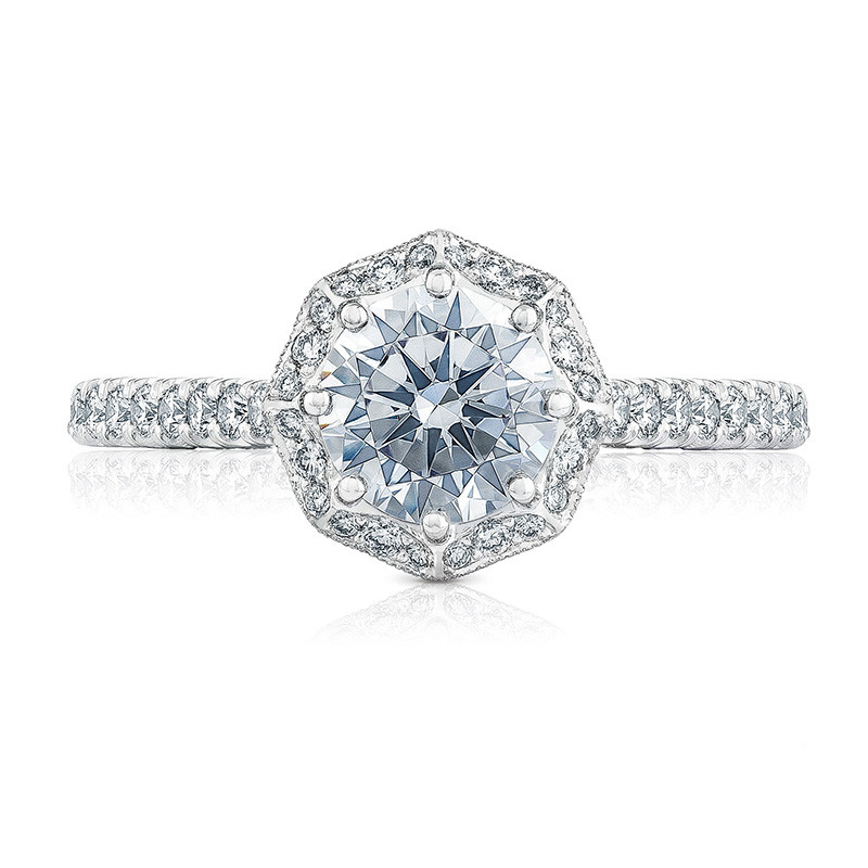 Tacori HT2555RD75 Bloom White Gold Engagement Petite Crescent Setting Top View