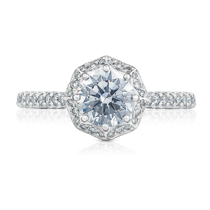 Tacori HT2555RD75 Bloom Platinum Engagement Petite Crescent Setting Top View