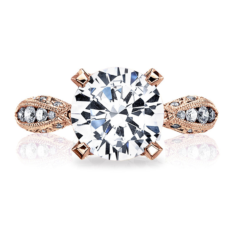 Tacori HT2602RD9 Diamond Ribbon Rose Gold Engagement RoyalT Setting Top View