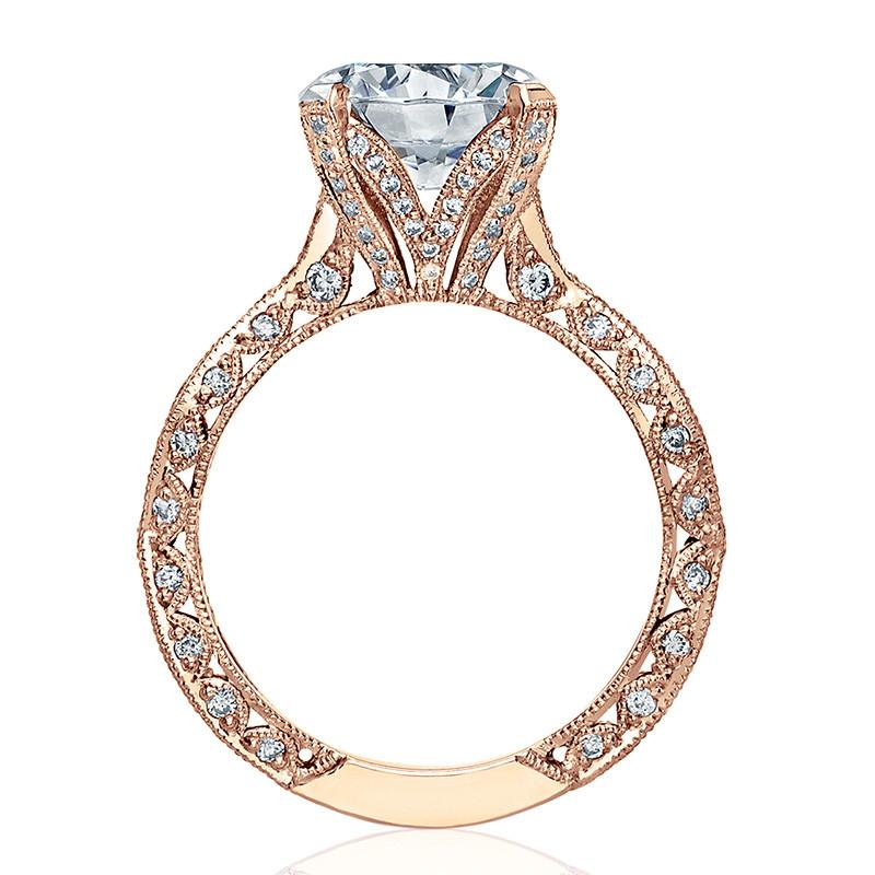 Tacori HT2602RD9 Diamond Ribbon Rose Gold Engagement RoyalT Setting Edge View