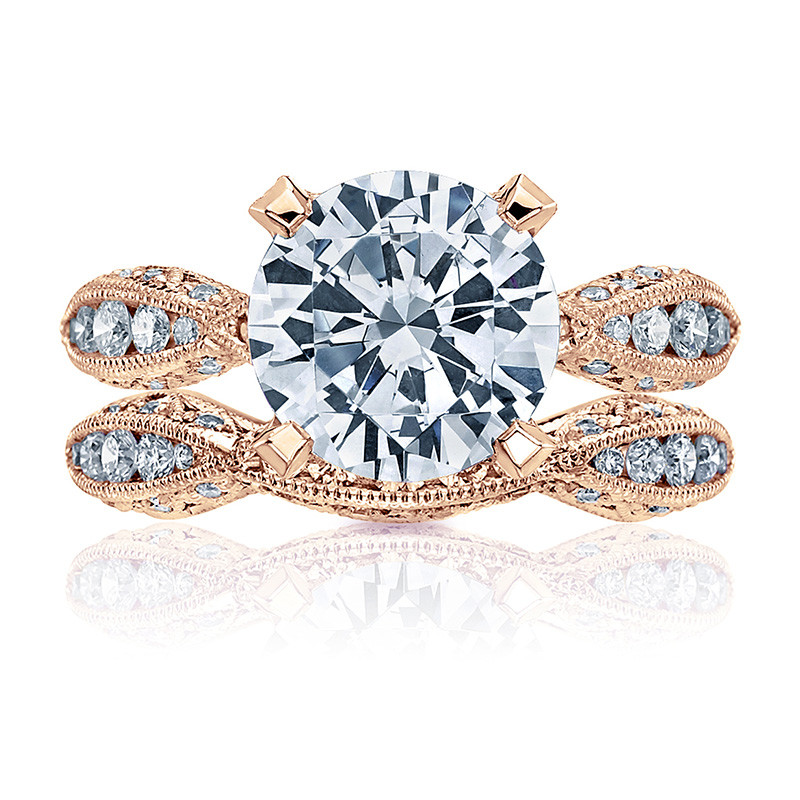 Tacori HT2602RD9 Diamond Ribbon Rose Gold Engagement RoyalT Setting with Band